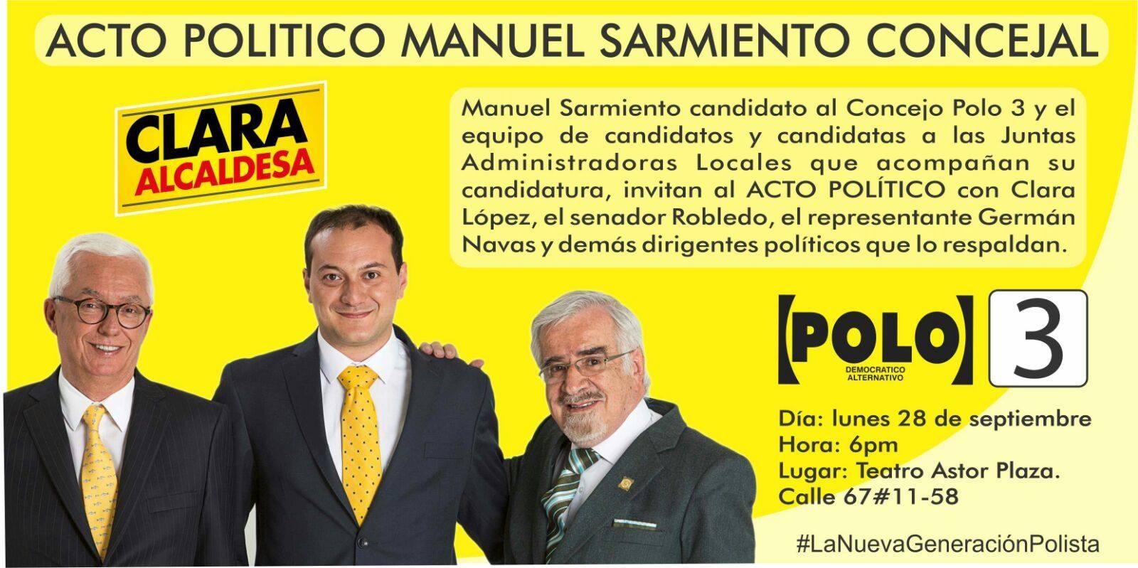 [HOY] ACTO POLÍTICO MANUEL SARMIENTO CONCEJAL