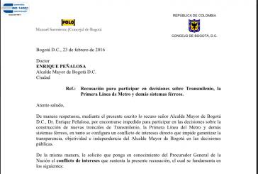 Recusación a Peñalosa para participar en decisiones sobre Transmilenio, la Primera Línea de Metro y demás sistemas férreos.
