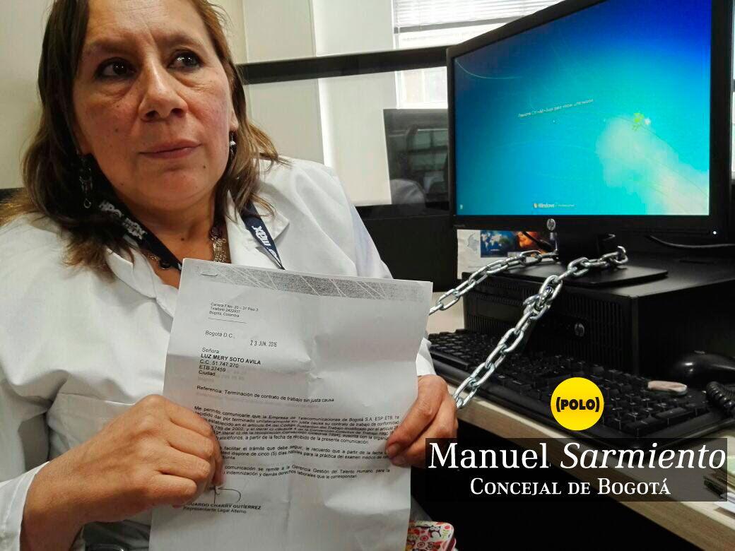 """""""Invoco a la ciudadanía a solidarizarse con Sintrateléfonos y Atelca frente a la masacre laboral que Peñalosa y Castellanos imponen a rajatabla en la ETB"""": Manuel Sarmiento."""