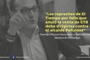 Los reproches de El Tiempo por fallo que anuló la venta de ETB debe dirigirlos contra el alcalde Peñalosa