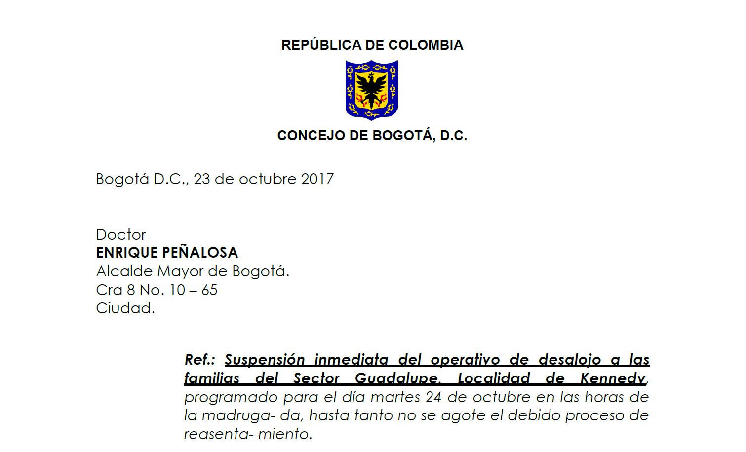 Suspensión inmediata del operativo de desalojo a las familias del Sector Guadalupe, Localidad de Kennedy
