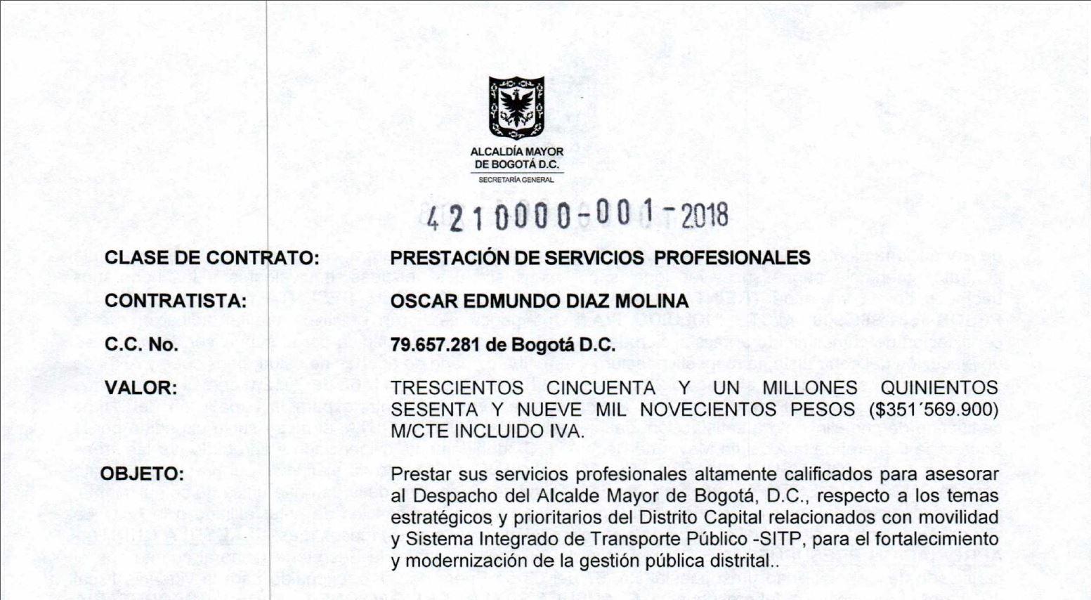 A pesar del rotundo fracaso, Peñalosa contrató de nuevo a Oscar Edmundo Díaz como asesor de movilidad
