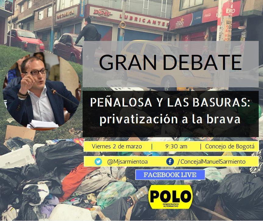 A debate de control político la crisis de las basuras causada por Peñalosa en Bogotá.