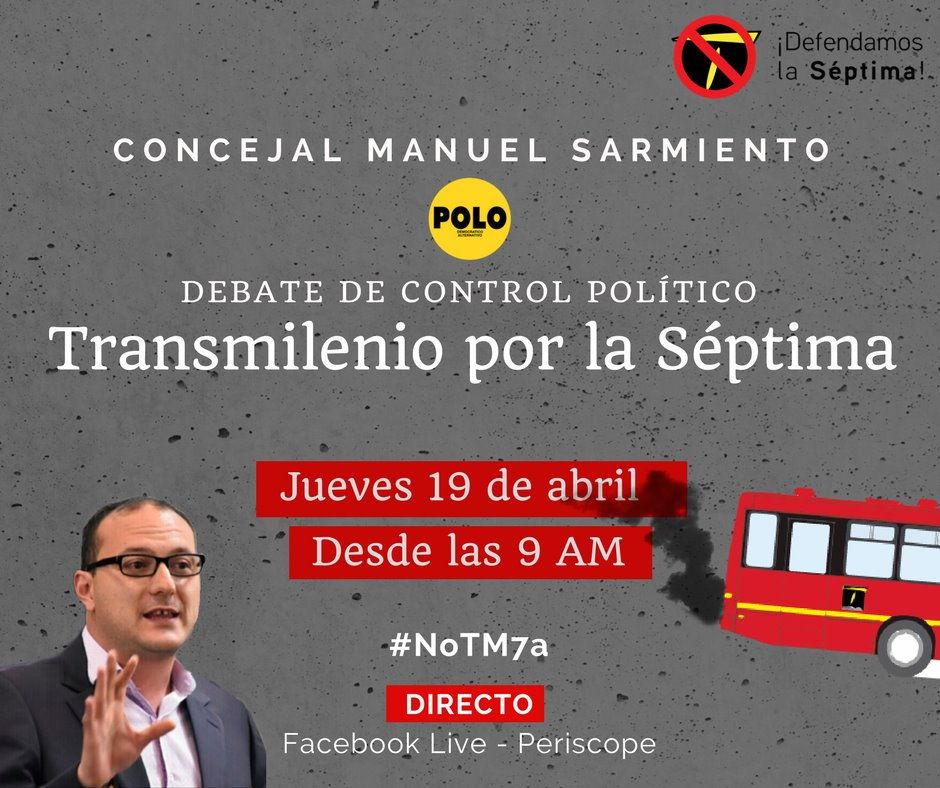 Este jueves, debate de la bancada del Polo contra Transmilenio por la Séptima