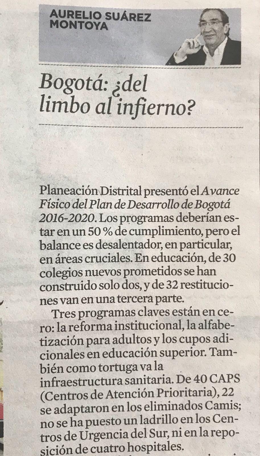 Bogotá: ¿del limbo al infierno? Artículo de Aurelio Suárez publicado en El Espectador.
