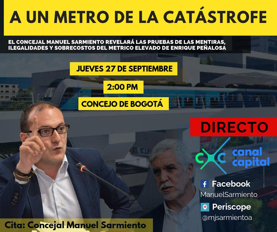 Concejal Sarmiento presentará pruebas sobre ilegalidades y sobrecostos del metro elevado