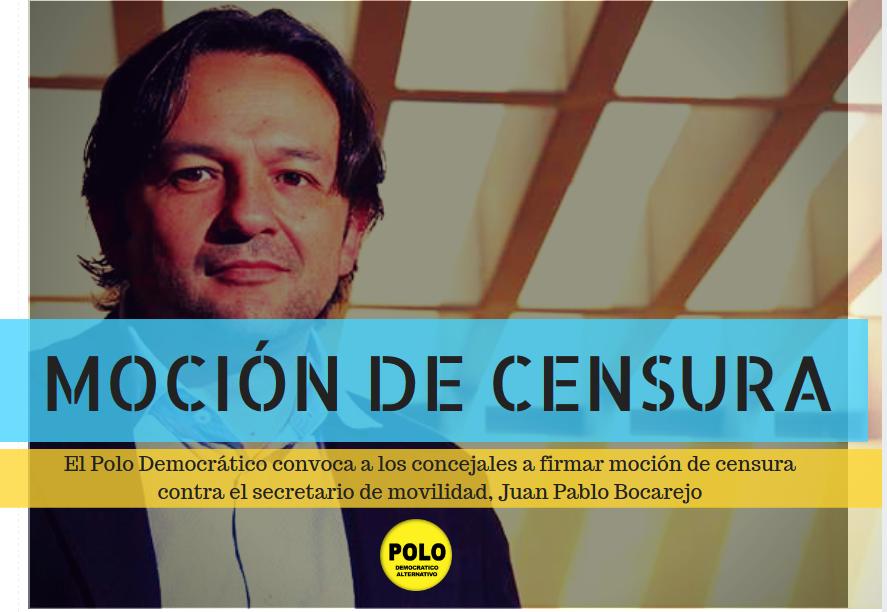 El Polo Democrático convoca a los concejales a firmar moción de censura contra el secretario de movilidad, Juan Pablo Bocarejo