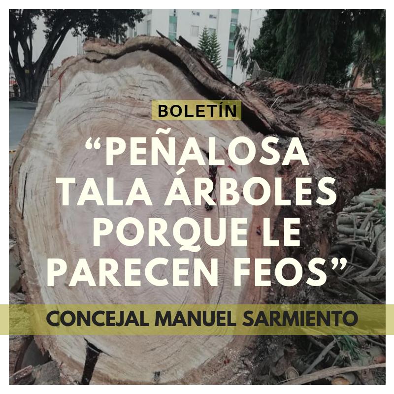 Peñalosa tala árboles porque le parecen feos: concejal Manuel Sarmiento