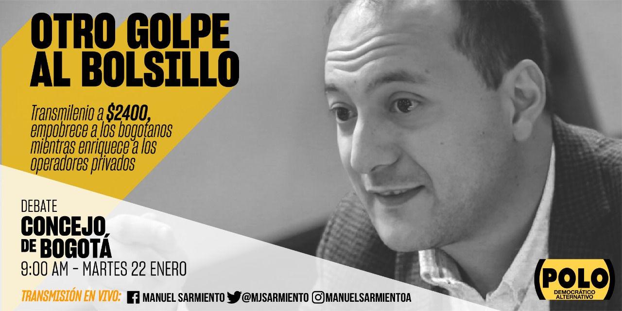 El Polo Democrático rechaza aumento del pasaje de Transmilenio y cita debate en el Concejo de Bogotá